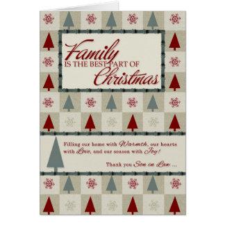 Para los árboles de navidad del yerno tarjeta de felicitación