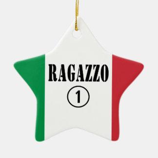 Para los novios italianos: Uno. de Ragazzo Numero Ornamento De Navidad