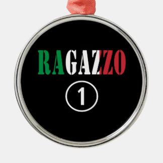 Para los novios italianos: Uno. de Ragazzo Numero Adorno Redondo Plateado