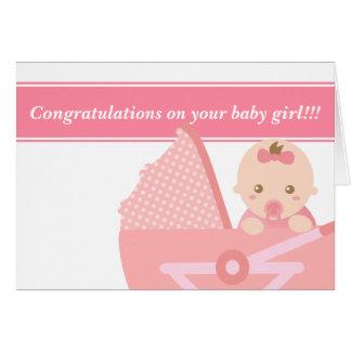 Para los nuevos padres - niña linda en cochecito tarjeta de felicitación
