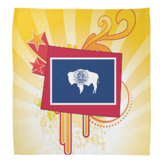 Para los regalos: Mapa de la bandera de Wyoming Bandana