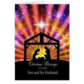 Para mi hijo y marido, navidad de la puesta del tarjeta de felicitación