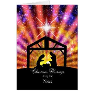 Para mi sobrina, navidad de la puesta del sol tarjeta de felicitación