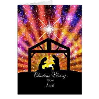 Para mi tía, navidad de la puesta del sol tarjeta de felicitación