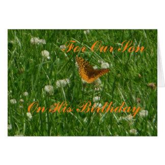 Para nuestro hijo en su tarjeta de la mariposa del
