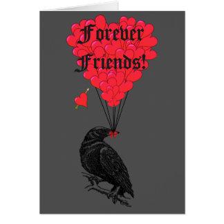 Para siempre amigos cuervo y corazón góticos tarjeta pequeña