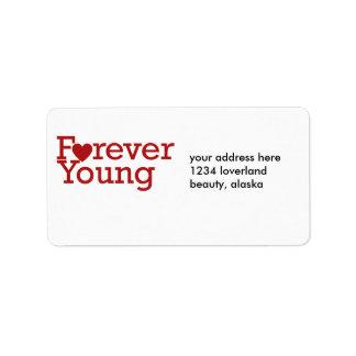 Para siempre jóvenes etiquetas de dirección