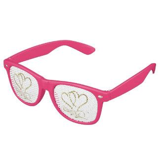 Para siempre oro de los corazones en blanco gafas de fiesta retro