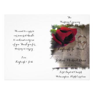 Para siempre programa plegable del boda del amor
