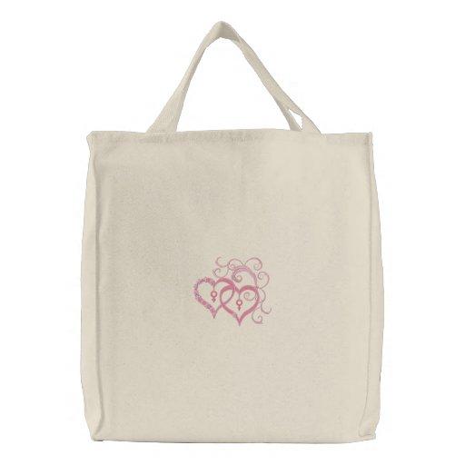 Para siempre tote bordado personalizable de los co bolsa de mano bordada