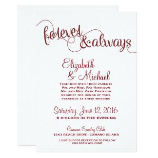 Para siempre y siempre casando la invitación