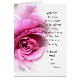 Para siempre y un poema del día con el rosa tarjeta de felicitación