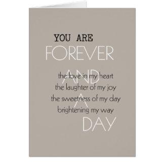Para siempre y un poema del día tarjeta de felicitación