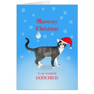 Para un ahijado, gato del navidad de Meowwy Tarjeta