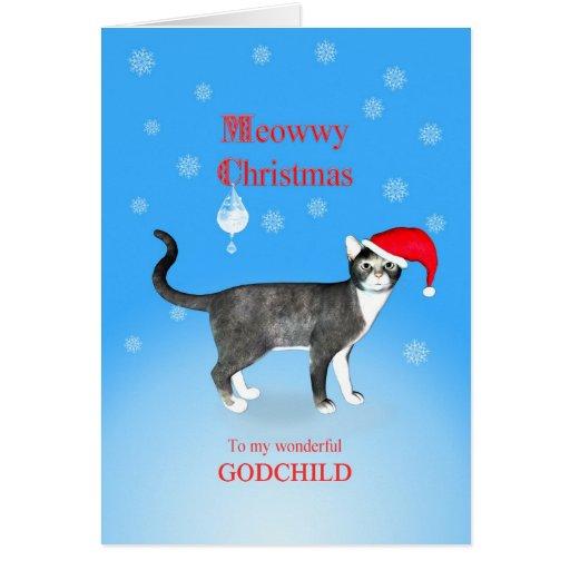 Para un ahijado, gato del navidad de Meowwy Tarjeton