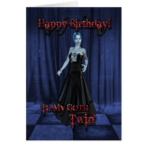 Para un gemelo del gótico, una tarjeta de cumpleañ