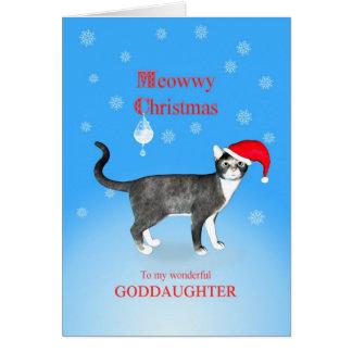 Para una ahijada gato del navidad de Meowwy Tarjeta