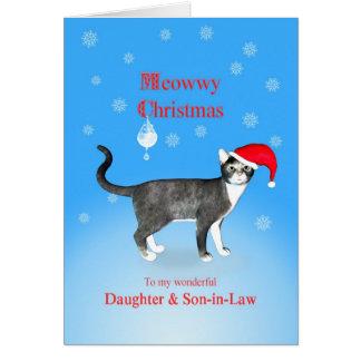 Para una hija y un yerno, navidad de Meowwy Tarjeta De Felicitación