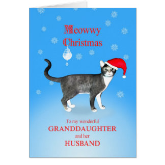 Para una nieta y el navidad de Meowwy del marido Tarjeta De Felicitación