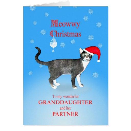 Para una nieta y el navidad de Meowwy del socio Felicitacion