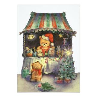 Parada del mercado del navidad del oso de peluche invitación 12,7 x 17,8 cm