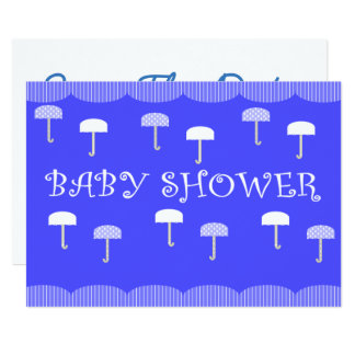 Paraguas de la fiesta de bienvenida al bebé azules invitación 12,7 x 17,8 cm