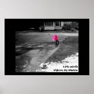 Paraguas rosado póster