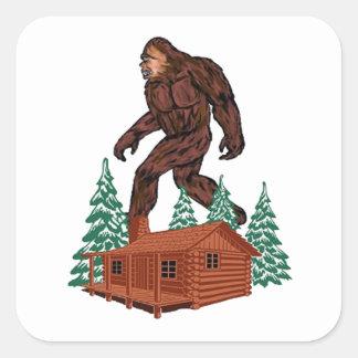 Paraíso de Bigfoot Pegatina Cuadrada