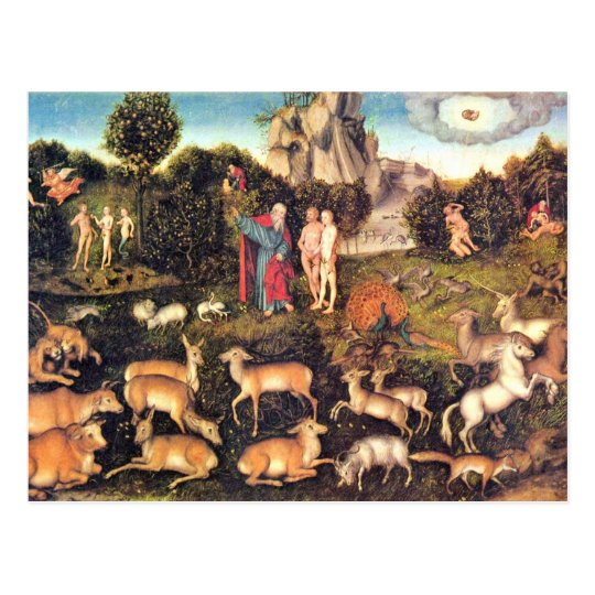 Paraíso por Cranach D. Ä. Lucas (la mejor calidad) Postal