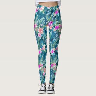 Paraíso tropical de la marina de guerra floral leggings