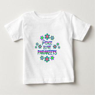 Parakeets del amor de la paz camiseta de bebé