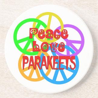 Parakeets del amor de la paz posavasos de arenisca
