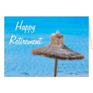 Parasol de playa feliz del retiro tarjeta de felicitación