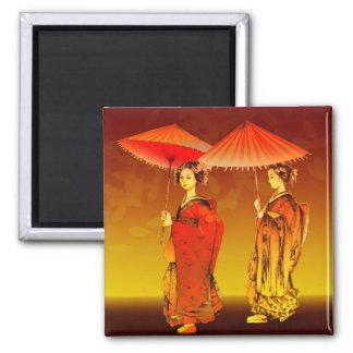 Parasoles de los geishas imán cuadrado