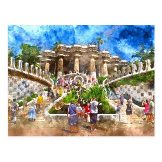 Parc Guell en Barcelona España Postal