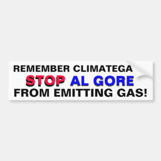 ¡PARE A AL GORE DE EMITIR EL GAS!  (CO2) PEGATINA PARA COCHE