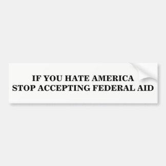 Pare el aceptar de la ayuda federal pegatina para coche