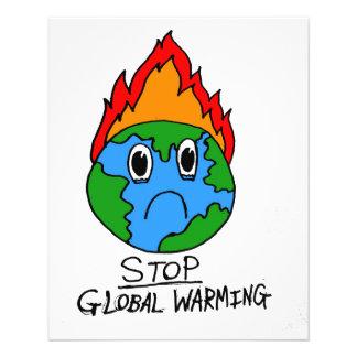 Pare el aviador del calentamiento del planeta folleto 11,4 x 14,2 cm