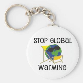 Pare el calentamiento del planeta llaveros personalizados