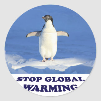 Pare el calentamiento del planeta multiplican pegatina redonda