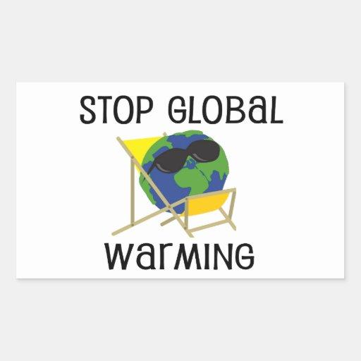 Pare el calentamiento del planeta rectangular pegatina