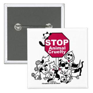 Pare la crueldad animal chapa cuadrada 5 cm