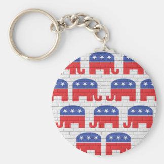 Pared de elefantes republicanos llavero redondo tipo chapa