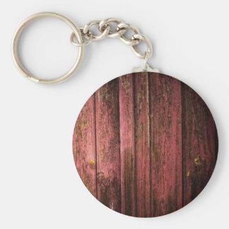 Pared de madera vieja roja llavero