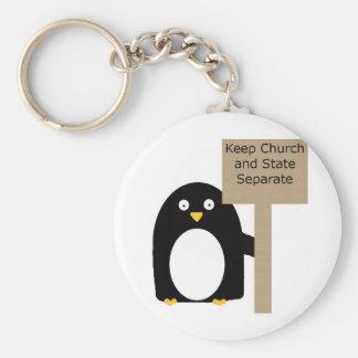 Pared del pingüino de la separación llavero redondo tipo chapa