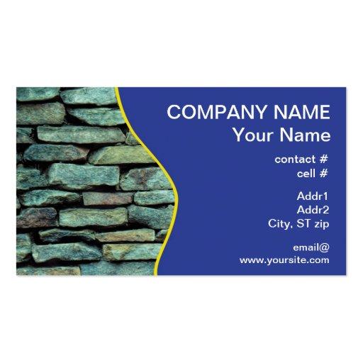 Pared exterior de piedra apilada tarjetas de visita