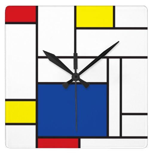 Pared minimalista Cloc del arte moderno de Mondria Reloj