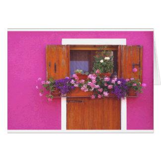 Pared rosada en Burano Tarjeta