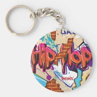 Pared urbana de la pintada de Hip Hop Llavero Redondo Tipo Chapa