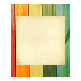 paredes coloridas, pintadas, de madera, de moda, folleto 11,4 x 14,2 cm